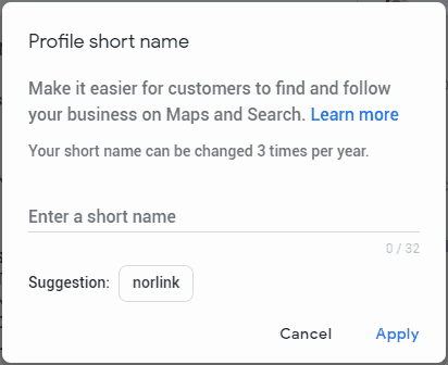 Add your Profile Short Name in Google My Business
