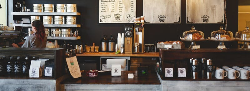 Interior of a coffee shop, showing what's available for purchase